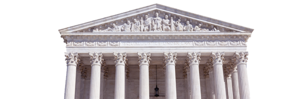 "west pediment of the supreme court building with a carving that reads ""equal justice for all"""