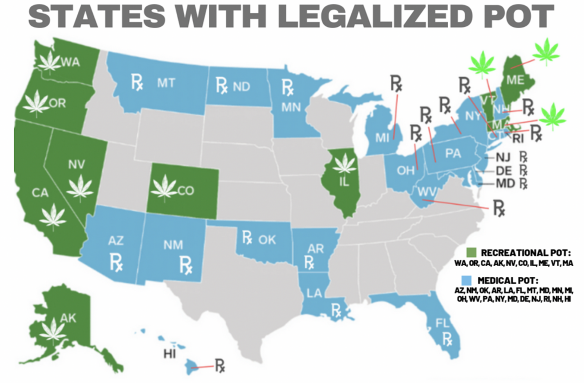 map of pot legalization by state